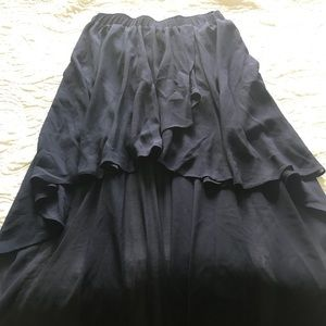 Navy High Low Skirt